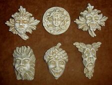 Vintage Set of 6 Gothic Medieval Green man Gargoyle Mythical Wall Plaque