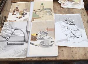 Four Original Vintage Watercolours, Still Life Studies, 1950s, Approx A4 Size