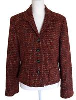 JONES OF NEW YORK Wool Blend Tweed 4 Button Front Blazer Jacket Women's Size 12