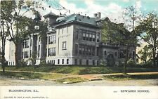 Bloomington Illinois~Summer Trees @ Edwards School on the Corner~1910 Postcard