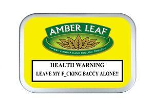 AMBER LEAF Cigarette Warning Stash Tobacco Baccy Pill Pocket Box Storage pot Tin