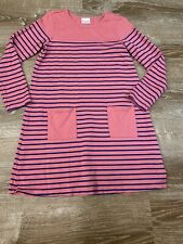 Hanna Andersson Girls 150 12 Pink Navy Striped Long Sleeve Dress Pockets