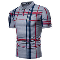 Summer Mens Short Sleeve Stripes Casual Work Polo Slim Fit Blouse T-shirt Tops