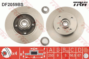 TRW Brake Rotor Rear DF2059BS fits Peugeot 207 SW 1.6 16V (88kw), 1.6 HDi (66...