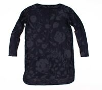 Lafayette 148 Blue Sheer Floral Long Sleeve Tunic Top Size S Small