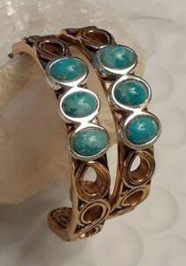 Designer Fine Mixed Metals Turquoise Hoop Earrings