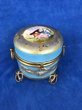 Antique Sevres Round Box Lovers Scene Footed with Handles