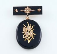 Antique Large Victorian 9Ct Gold, Onyx And Pearl Pendant Brooch / Locket 1880's