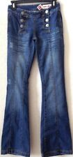 "Womens/Junior Sz 3 Blue Jeans HOT KISS 32"" Ins Cotton Blend Button Fly Pre-Owned"