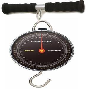 SABER 27kg 60lb Specimen Scales Carp Sea Coarse Fishing Weighing + Weigh Bar