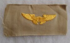 GREAT WWII AAF GOLD WING FLIGHT INSTRUCTOR WING ON UNCUT TAN TWILL NICE PIECE