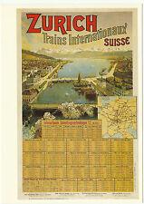 PHOTOGLOB  ZURICH  ADVERTISING  POSTCARD  -  ZURICH  TRAIN  TIMETABLE