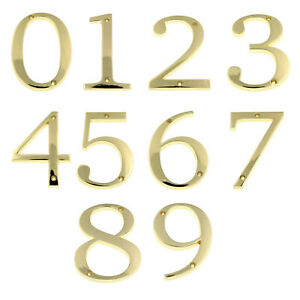 """Large 5"""" Polished Brass Metal Flush House Address Numbers, Bold Readable Font"""