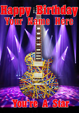 Les Paul Custom Art Guitar cptmi4 Happy Birthday Card A5 Personalised Greetings