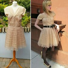 Frock by Tracy Reese Anthropologie Beige Gold Floral V-Neck Dress Blogger Lolita