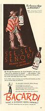 1943 WW2 era AD BACARDI Puerto Rican RUM  Art # 6 Chilean Vaquero 090315