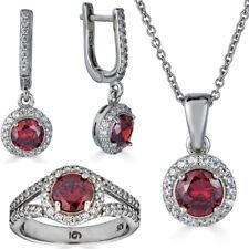 Реал 925 серебро красный рубин и бриллиант кольцо кулон ожерелье и серьги ювелирных изделий комплект