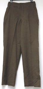 vtg OLIVE WOOL SERGE TROUSERS Waist size 30 Korean War 1950 army pants 50s