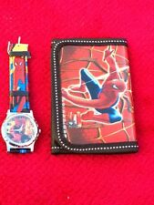 NEW Kids Spiderman Watch  and  Tri-Fold Wallet Set -Black FREE SHIPPING