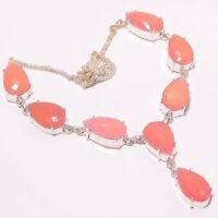 "Rose Quartz Gemstone Handmade 925 Silver Plated Jewelry Necklace 18"""