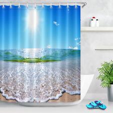 72x72'' Summer Sea Landscape Solar Sky Waterproof Fabric Bathroom Shower Curtain