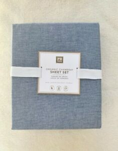 Pottery Barn Teen organic chambray sheet set  Queen  Navy