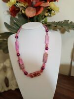 Ethnic Vintage Bohemian Tumbled Natural Pink Agate Necklace