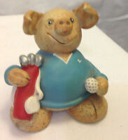 PIGMANIA GOLFER FIGURINE PIG W/ GOLF CLUBS & BALL CUTE MADE IN THE UK POTTERY