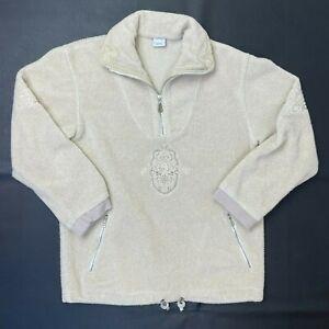 Bogner Sz Medium 1/4 Zip Embroidered Fleece Jacket Top Ivory Cream Pockets