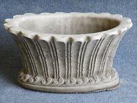 OVAL POT Hand Cast Stone Garden Ornament Flower Planter Basket Decor ⧫onefold-uk