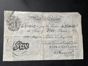 White Fiver - Five Pounds Note. 13th May 1936 - Peppiatt - Great Condition