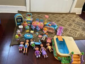 Big Dora Explorer Talking Dollhouse Furniture Figures People Grandma Diego Lot