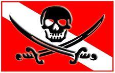 """3.25"""" PIRATE / SKULL SCUBA FLAG Vinyl Bumper Sticker. Dive diver diving fins."""