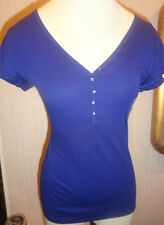 Ladies Old Navy Perfect Henley Bright Night Blue Short SleeveTop Sizes XS - 2XL