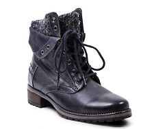 Steve Madden Boots, Black Leather, Lined, Lace Ups, Wm Sz 36, New In Box