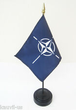 """Nato Desk Flag 4"""" x 5-1/2"""" With Base / Stand - 11"""" Tall"""