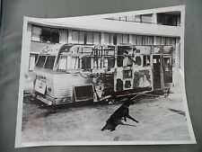 Vintage B&W Victoria BC Newspaper Photo Fire Damage Travel Trailer Commander Dog