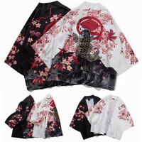Japanese 3/4 Sleeves Kimono Cardigan Mens Womens Cloak Jacke Top Blouse AU STOCK