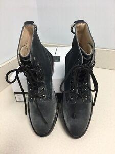 Dolce Vita Bardot Gray Velvet Lace Up Boots Size 7.5M *NEW