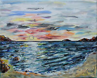 SHADOW BAY SUNSET beach sea shore 8x10 oil painting canvas signed by CROWELL US