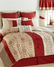 Bryant Collection Bedding 17 Piece KING Comforter Set Ensemble Red 24 D1673