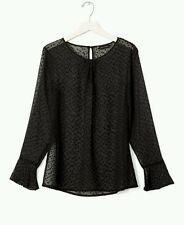 banana republic, jacquard sheer blouse, black, size small,