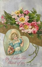 To My Valentine Valentines Day Love pm 1909 girl with basket of flowers Postcard