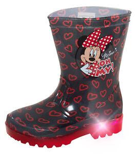Girls Disney Minnie Mouse Light Up Wellington Boots Kids Rain Snow Shoes Wellies