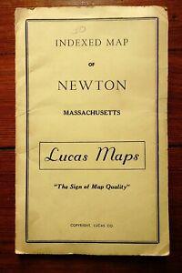 NEWTON MASS The Garden City - Map Kenneth Lucas Map appx 1964