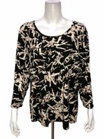 H by Halston Women's Bamboo Printed Scoop Neck 3/4 Sleeve Top Black X-Large Size
