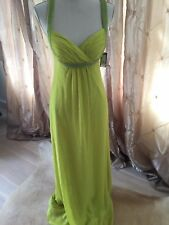"""Guess """"Lindsey"""" Gown Dress Sz 6 Lime Green Jeweled Full Length Cut Out Back"""
