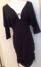 Roberto Cavalli Black Stretch Evening Dress Raglan Decollate  Sz IT 46 US 10 M 8