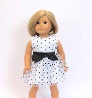 "White polka dot dress 18"" doll clothing fits American girl"