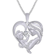 Diamond Simulant Mom with Child Heart Pendant Necklace 14K Gold On Sterling